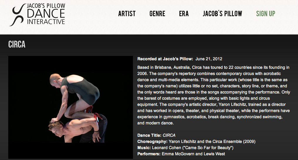 Jacob's Pillow | Circa on Dance Interactive