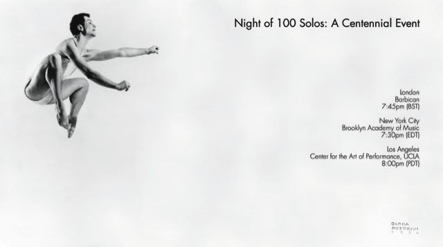 Livestreaming in three cities | Merce Cunningham Night of 100 Solos